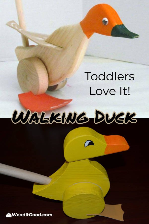 Walking duck wooden push toy for toddlers.