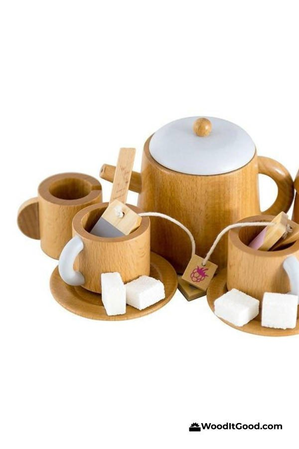 DIY Toy wood tea set complete with tea bags and sugar cubes.