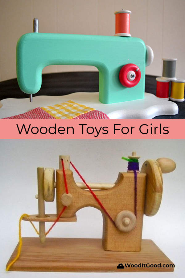 Check out these two wooden sewing machine toys.