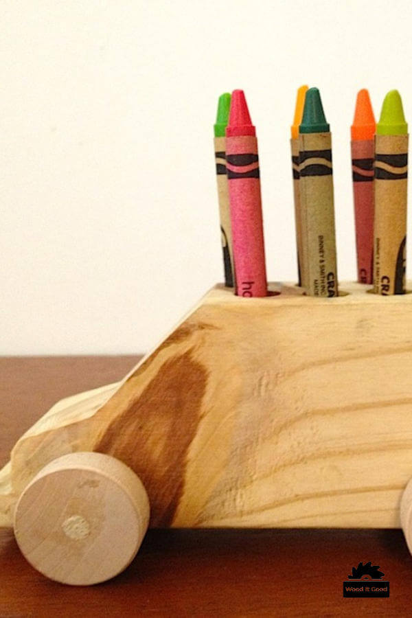 Handmade wooden crayon car toy
