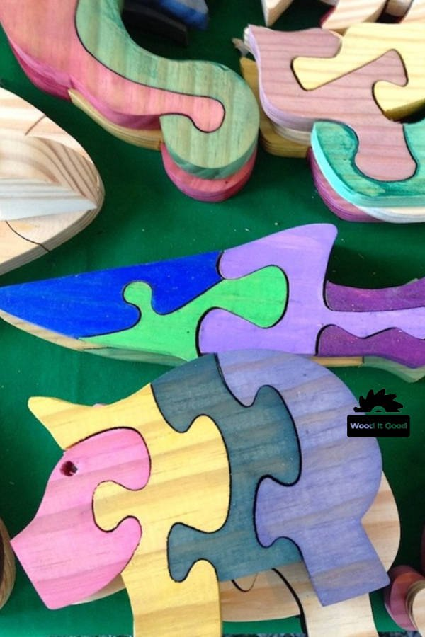 Wood puzzle for kids with safe all natural dyes.