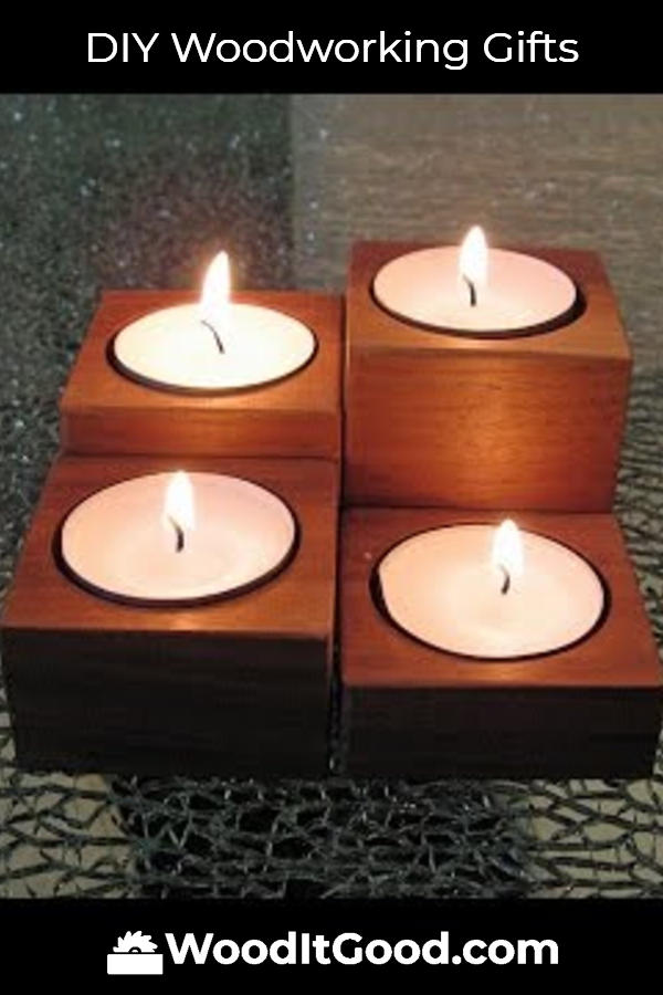 DIY Tealight Candle Holders - Small Woodworking Gifts For Beginning Woodworkers To Make.