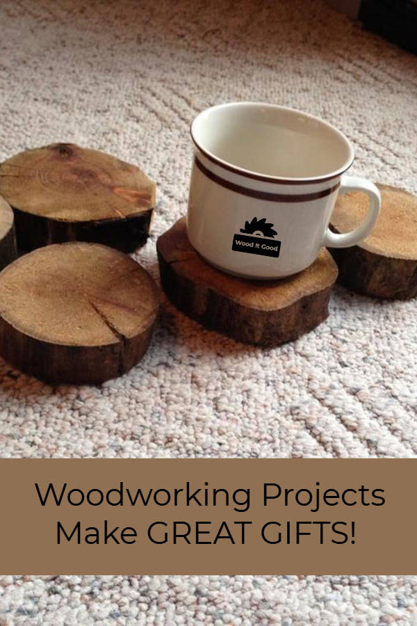 Rustic Wood Slice Coasters - Small Woodworking Gifts For Beginning Woodworkers To Make.