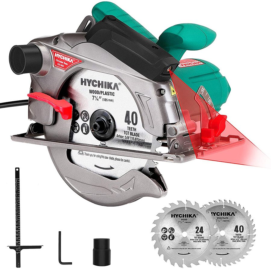 This HYCHIKA circular saw is a powerful saw that you can still get on a budget.