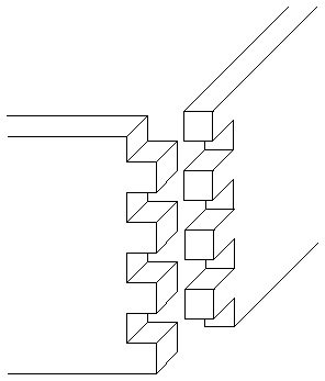 This is a diagram illustrating how a box joint works.  This is a wood joint that can be lovely, as it is visible.