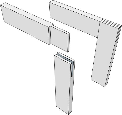 This is a corner bridle joint!  One of the types of wood joints that's popular for workbenches.