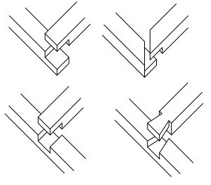 An illustration of the various ways you can do a half-lap joint.