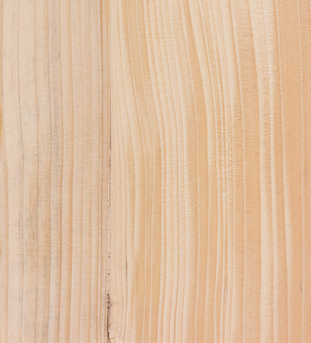 A close up view of the wood grain on a fir, otherwise known as balsum, wood plank.