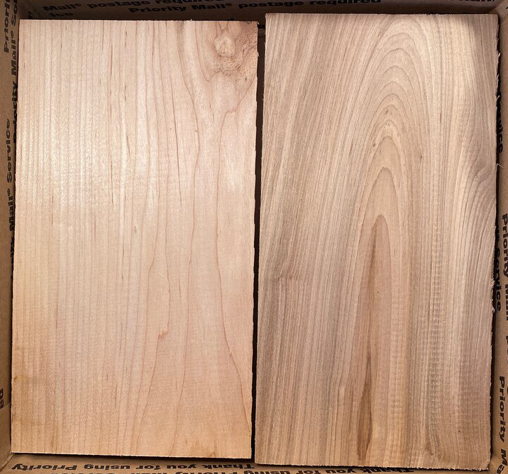 Here you can see two short planks of maple wood.