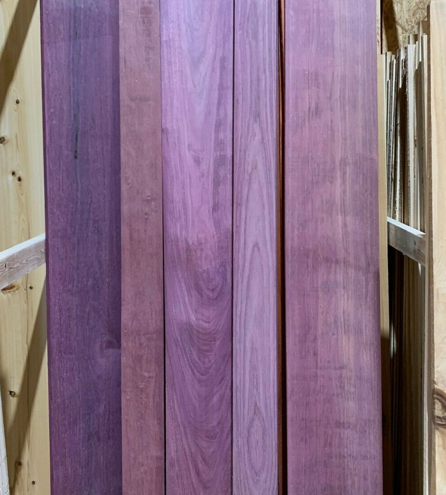 It's easy to see from this picture where purpleheart wood gets it's name!  It's deep purple hue and lovely grain make it a choice piece of lumber.