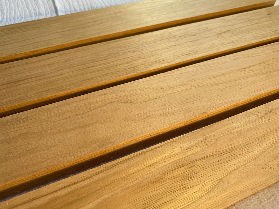 Teak is a golden color as you can see in this picture!