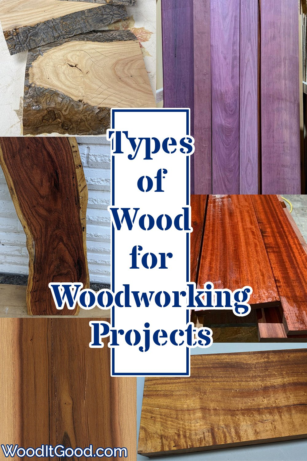 Types of wood for woodworking projects.