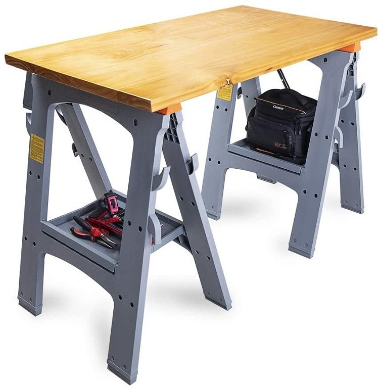 This is a picture of a sawhorse set up.  It's a simple support system.